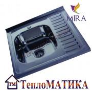 Накладная мойка MIRA MR 6060 +сифон (Decor 0,8 мм)