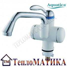 Кран-водонагреватель проточный для раковины гусак длинный изогнутый на гайке AQUATICA LZ-5A211W
