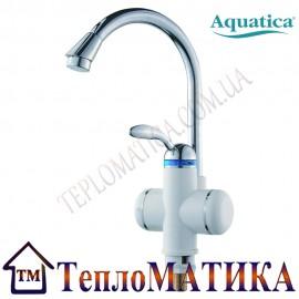 Кран-водонагреватель проточный для кухни гусак ухо на гайке AQUATICA LZ-6B111W