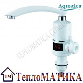 Кран-водонагреватель проточный для кухни гусак прямой на гайке с дисплеем AQUATICA NZ-6B242W