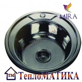 Кухонная мойка MIRA MR 490 +сифон (врезная, Satin 0,8 мм)