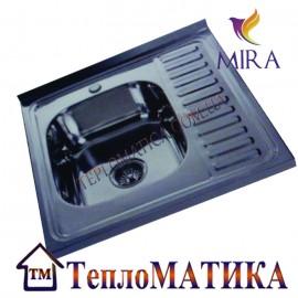 Накладная мойка MIRA MR 6060 +сифон (Polish 0,8 мм)
