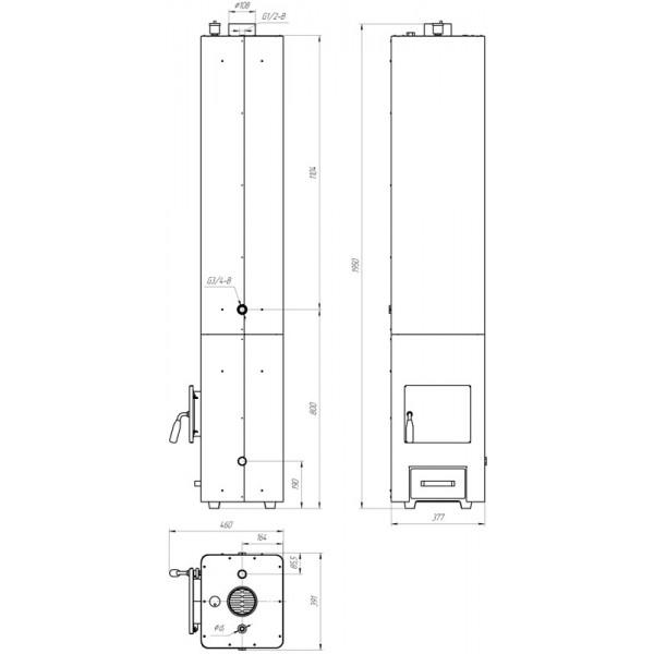 Твердотопливная колонка Данко КВЦ-90