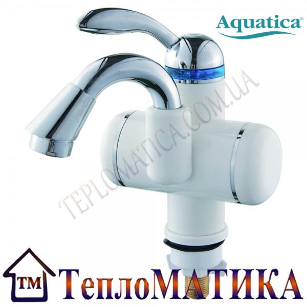 Кран-водонагреватель проточный для раковины гусак изогнутый на гайке AQUATICA LZ-5A111W