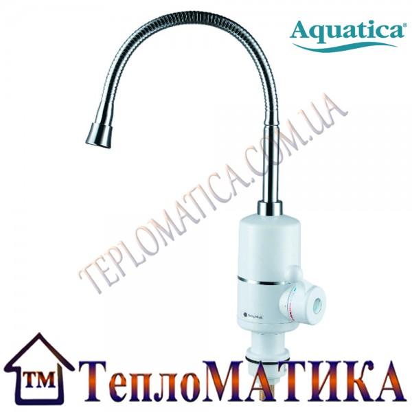 Кран-водонагреватель проточный для кухни гусак гофрированный на гайке AQUATICA NZ-6B312W