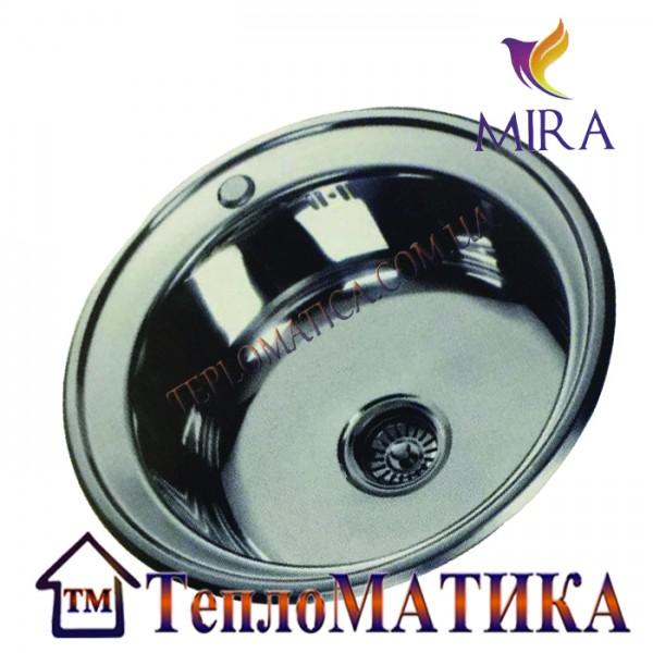Кухонная мойка MIRA MR 510 +сифон (врезная, Satin 0,8 мм)