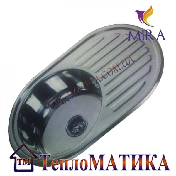 Кухонная мойка MIRA MR 7750 +сифон (врезная, Satin 0,8 мм)
