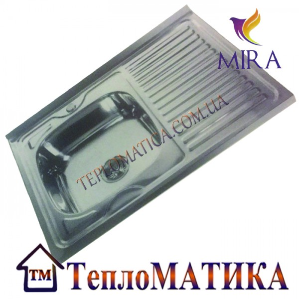 Накладная мойка MIRA MR 8060 +сифон (Decor 0,8 мм)